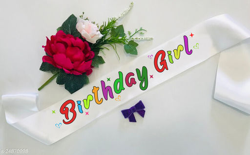 """Style Secrets Premium Quality 3"""" Shimmering White Designer Multicolor Birthday Girl Sash for All Age Group Girls and Ladies."""