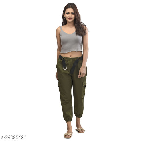 Anaghakart for women 4pocket cargo pant with the belt