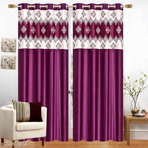 Mulberry Purple Designer Heavy 24 KG  Quality Crush 7 Feet Door Curtains Pack of 2