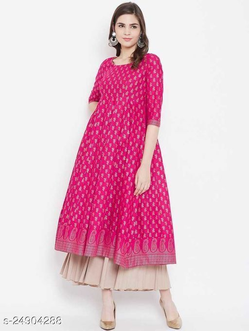 Demanding Women's Printed Pink Rayon Anarkali Kurti