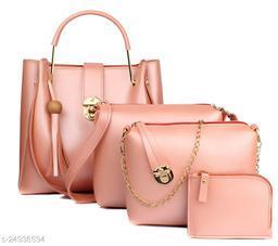 Attractive Women's Multipack Pink PU Handbag