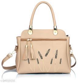 Stylish Women's Cream PU Handbag
