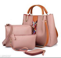 Beautiful Women's Multipack Pink PU Handbag