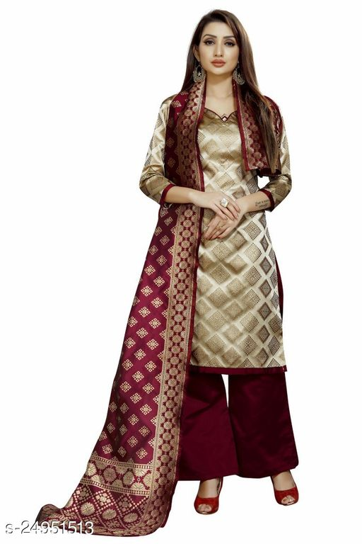 Stylish Off-White Colour Brocade Unstitched Dress Material