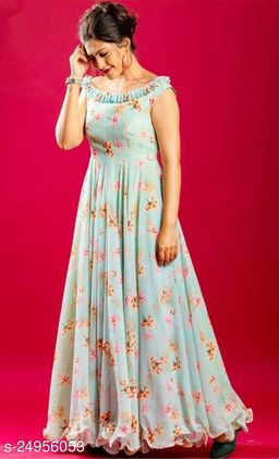 ADORNING FIROZI COLORED PARTYWEAR DIGITAL PRINTED GEORGETTE GOWN
