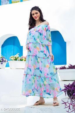 Impressive Sky Blue Digital Printed Designer Gown