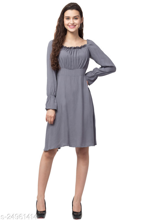 CASUAL GATHER NECK DRESS