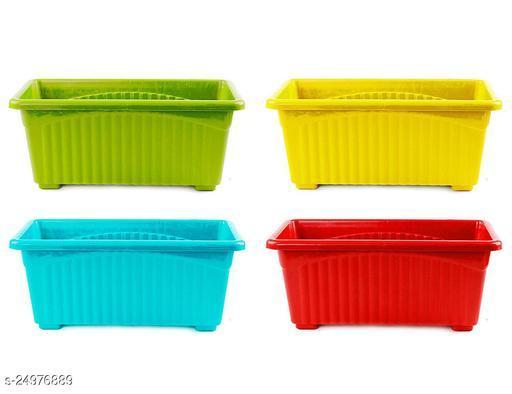 EaglesFord Rectangular Plastic Pots for Plants, Window Planter, (Set of 4)