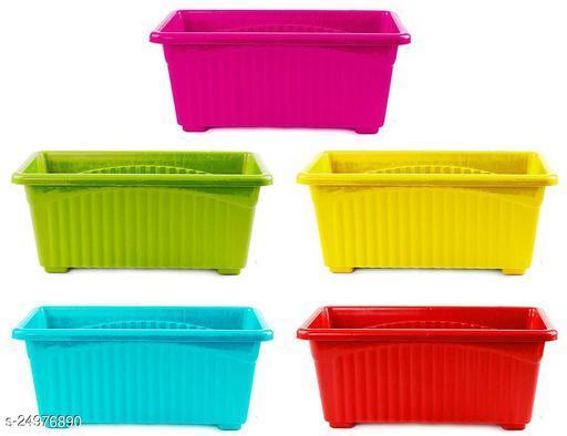 EaglesFord Multicolor Rectangular Plastic Pots for Plants, Window Planter, (Set of 5)