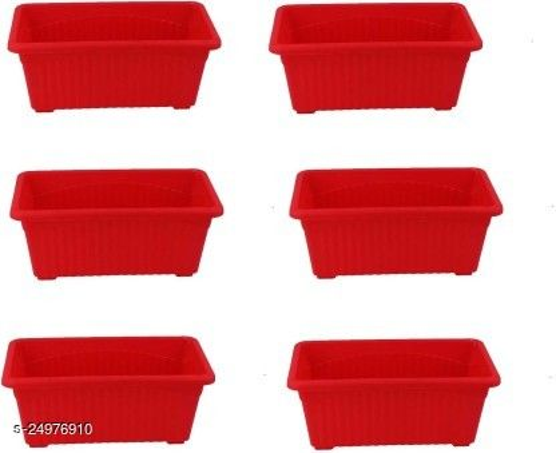 EaglesFord Rectangular Plastic Pots for Plants, Window Planter, Red,(Set of 6)
