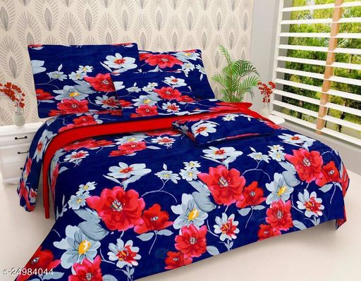 TRENDY THREADS INDIAN GLACE COTTON DOUBLE BEDSHEETS SIZE(90*90) WITH 2 PILLOW COVERS SIZE(27*17)
