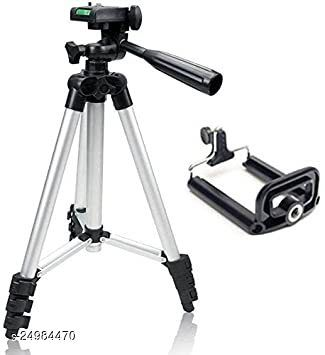 3110 Tripod Stand for Phone and Camera Adjustable Aluminum Alloy Tripod Stand Holder for Mobile Phones & Camera,Photo/Video Shoot - Black