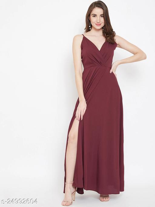 U&F Maroon Poly Crepe V-neck Party Maxi Dress