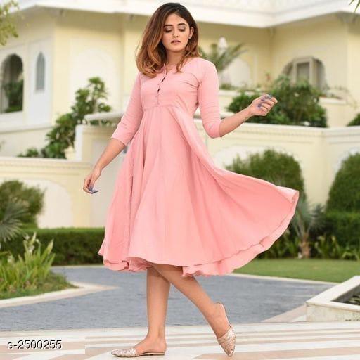 Women's Solid Cotton Anarkali Kurti