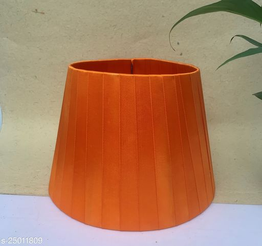 """GaliRetroVali 10"""" conical fabric lampshade handmade for table lamp desk lamp (Color: Orange; Size (in cms): 25 X 25 X 18; Single Piece)"""
