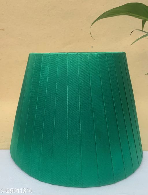 """GaliRetroVali 10"""" conical fabric lampshade handmade for table lamp desk lamp (Color: Green; Size (in cms): 25 X 25 X 18; Single Piece)"""