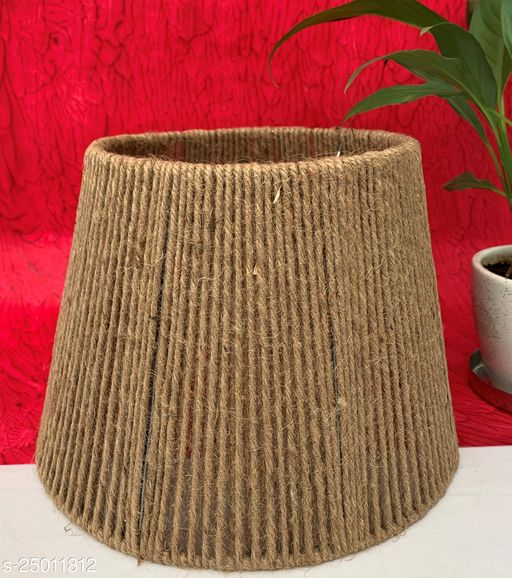 """GaliRetroVali 10"""" conical fabric lampshade handmade for table lamp desk lamp (Color: Brown; Size (in cms): 25 X 25 X 18; Single Piece)"""