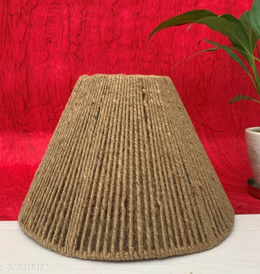 """GaliRetroVali 10"""" conical fabric lampshade handmade for table lamp desk lamp (Color: Brown; Size (in cms): 25 X 25 X 16.5; Single Piece)"""