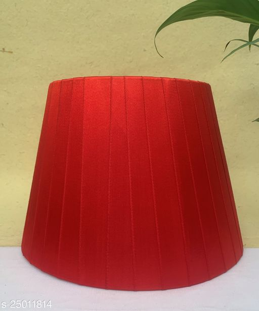 """GaliRetroVali 10"""" conical fabric lampshade handmade for table lamp desk lamp (Color: Red; Size (in cms): 25 X 25 X 18; Single Piece)"""
