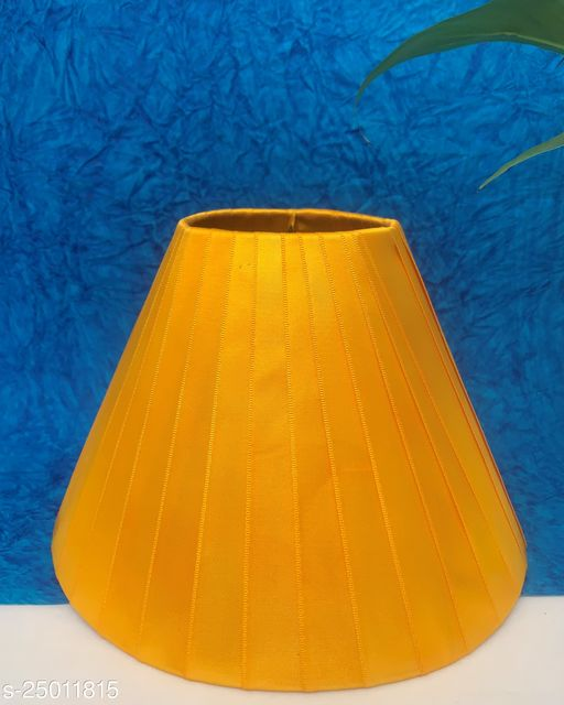 """GaliRetroVali 10"""" conical fabric lampshade handmade for table lamp desk lamp (Color: Yellow; Size (in cms): 25 X 25 X 16.5; Single Piece)"""