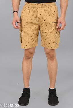Cargo Sports Men's Printed Cotton Cargo Light Khaki Bermunda Shorts