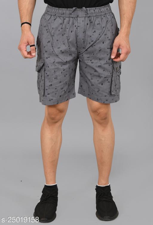 Cargo Sports Men's Printed Cotton Cargo Grey Bermunda Shorts