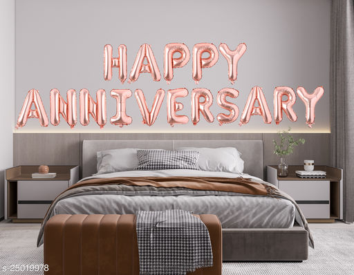 """Style Secrets Amazing Rose Gold 16"""" Happy Anniversary Foil Balloons Pack"""