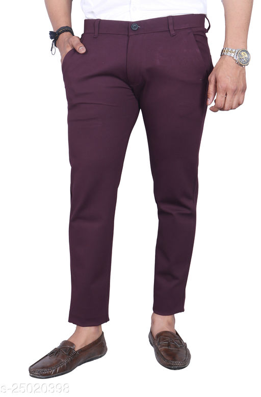 Allons-Y Let's go Slim Fit Wine Lycra(Full-Stretchable) Pant/Trouser