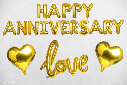 """Style Secrets Awesome Anniversary Pack - 16"""" Happy Anniversary Foil Balloons, Cursive Love Foil Balloons and 18"""" Heart Foil Balloons ( Pack of 4 pcs )"""