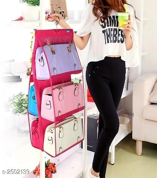 6 Pocket Handbag Hanging Storage Bag(Purple)