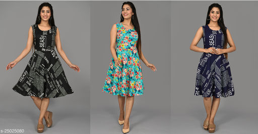 Sun Crestion Set Of 3 Pcs combo Short Dress