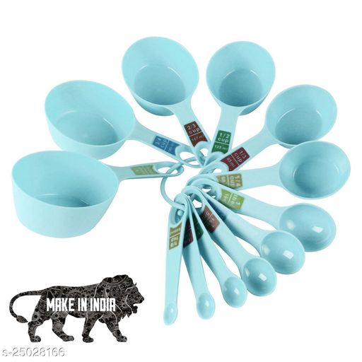 INOVERA Plastic 12 Piece Measuring Cups and Spoons for Kitchen Cake Baking and Cooking Teaspoon Tablespoon Spoon Accessories Tools Set (Green)
