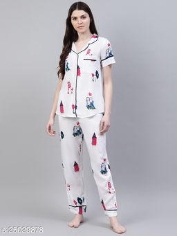 Beautiful Floral Print Cotton Night Suit