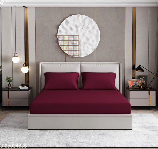 Plain/ Solid Antibacterial Double Bedsheet wih Two Pillow Covers- Maroon