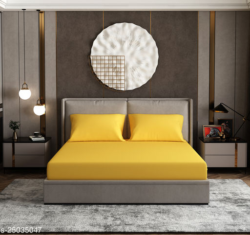Plain/ Solid Antibacterial Double Bedsheet wih Two Pillow Covers- Yellow