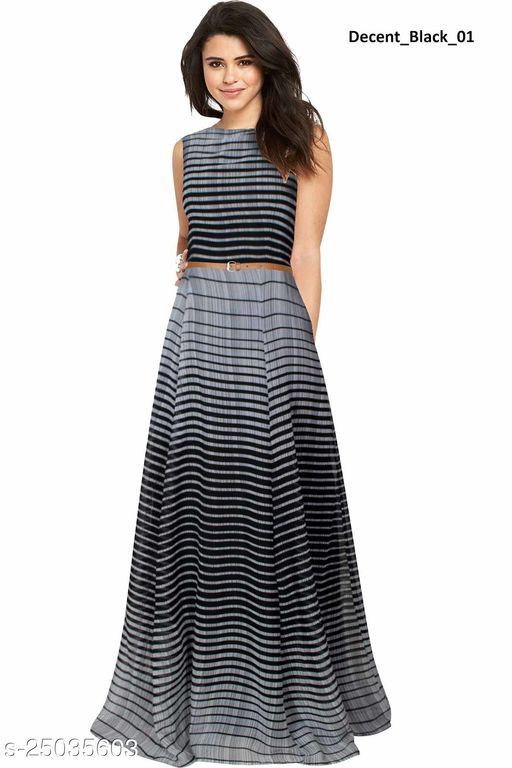 DIPROTO Women's Georgette Printed Gown With Attached Sleeves (Decent Black)