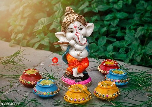 Saudeep India Diwali Gift Combo Diwali Matki Diyas with Ganesha Idol | Handmade Terracotta Clay Diya | Mitti Deepak for Diwali | Diya for Puja | Diwali Home Decoration Diya (Set of 6, Multicolor)