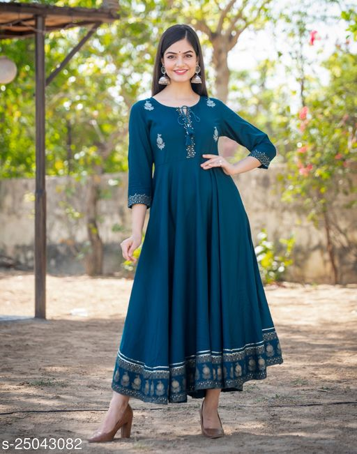Women Embrodired Stylish Rama Green Flared Gown