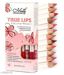 True Lips LipLiner Pencil (Set of 12pcs) Lip Liner Pencil Multicolour