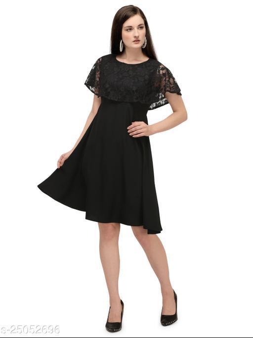 Serein women's Midi dress (Black solid crepe midi with lace cape & round neck dress)