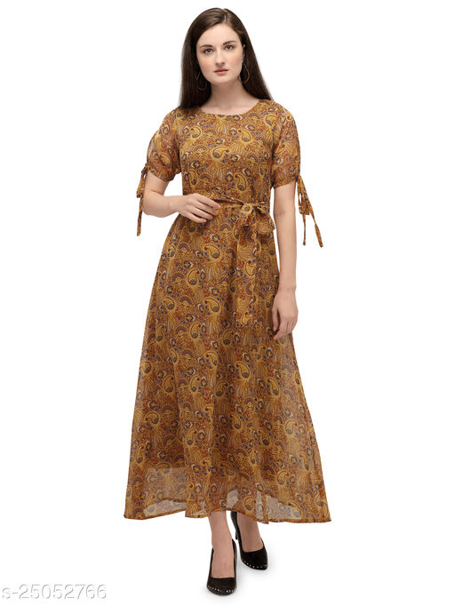 Serein Women's Maxi dress (Yellow Floral Printed chiffon dress with Tie-up Half sleeves & round neck)
