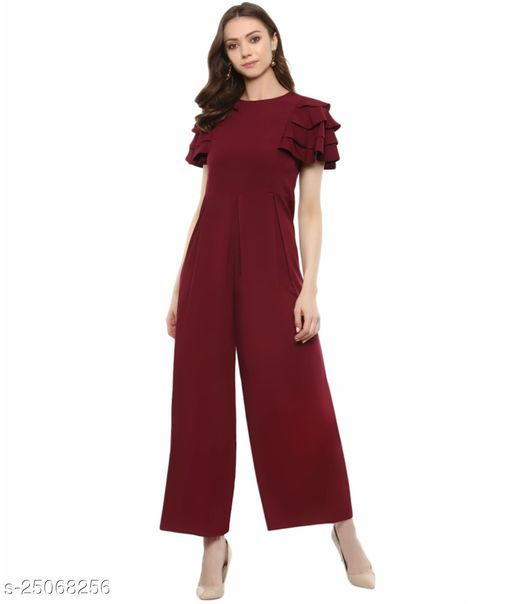Maroon Relaxed Fit Full Length Jumpsuit With Ruffled Sleeves
