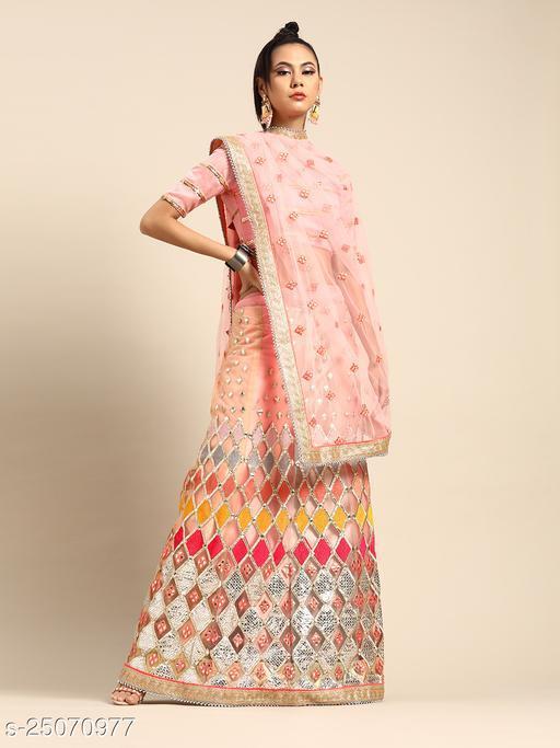 Rainbow Lehenga Saree with mirror work for wedding wear
