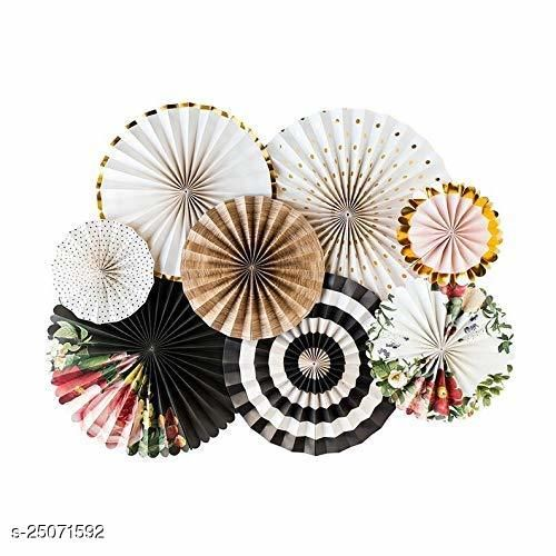Party Fans, Party Decoration Materials Round Paper fans Party Fans stripe paper wheel polka dot paper wheel Pack of 8 white gold & black floral design (Party Monkey)