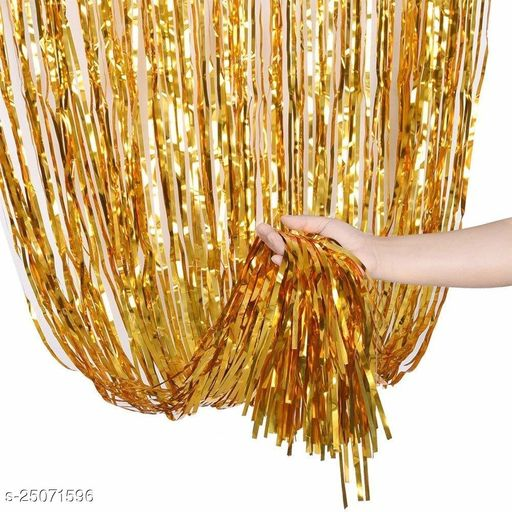 Foil Curtain Gold Shiney Pack Of 1 For Girls Birthday Decoration Baby Shower Bride To Be Decoration Or Birthday Parties Backdrop 3 Feet By 6 Feet (Party Monkey)