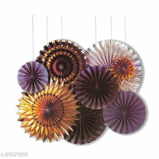 Party Fans, Party Decoration Materials Round Paper fans Party Fans stripe paper wheel polka dot paper wheel Pack of 8  white gold & purple design (Party Monkey)