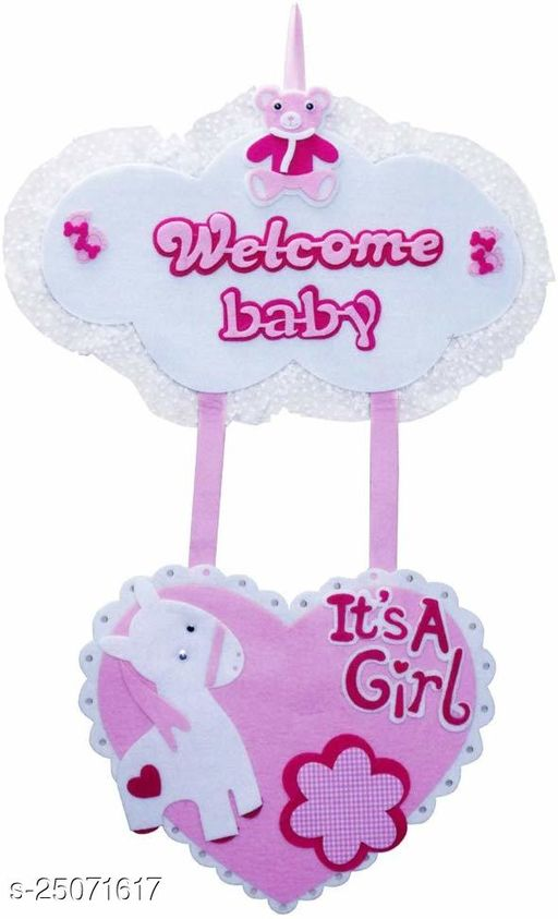 Baby Felt Hanging Welcome Baby Girl Welcome Baby For Baby Annoucements Baby Arrival Baby Shower Baby Party Baby Birthday Baby Supply (Party Monkey)