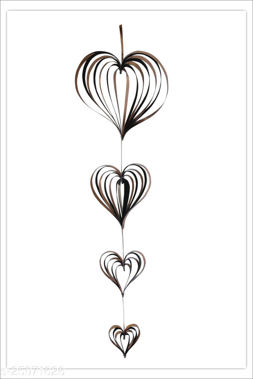 Hanging Paper Hearts Set with 4 Pieces Valentine's Day Glitter Heart Hanging Garland for Home Decor Engagement Photo Props Backdrop Gold & Black colour (Party Monkey)