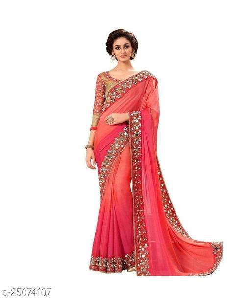 Mirraw Pink Mirror Work Georgette Saree With Blouse For Women Latest Design For Womens & Girls - For All Occasion