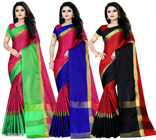 Attractive Cotton Silk Printed Women's Saree(Pack of 3)